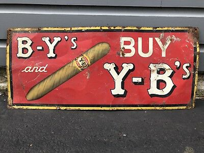 Old General Store Vintage Yocum's Y-B DeLuxe Cigar Tobacco Advertising Tin Sign