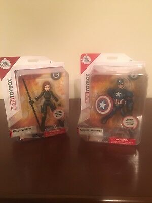 Disney Store Marvel Toybox Captain America & Black Widow Action Figures NIB