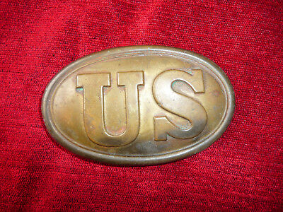 Old Us Civil War Army Belt Buckle, Brass, Lead Filled. Marked Replica