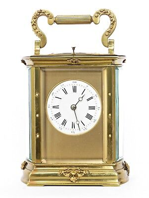 """Rare Lge 7.5"""" Antique French Striker Repeating Carriage Clock Oval Bout Serviced"""