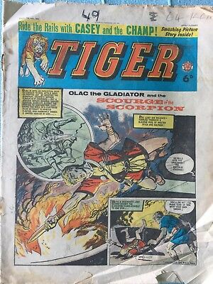 Tiger comic, June 27th 1964 (Roy Of The Rovers). Fair condition, Rare