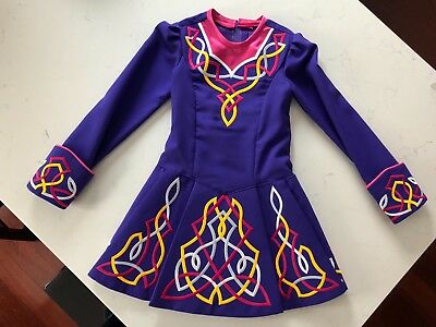 Irish dance dress Purple with pink/white/yellow embroidery U8-U12