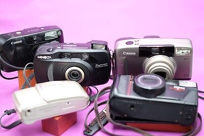 LOT of Vintage 35mm film point and shoot CAMERAS, 5, for parts/repair~AS IS~0005