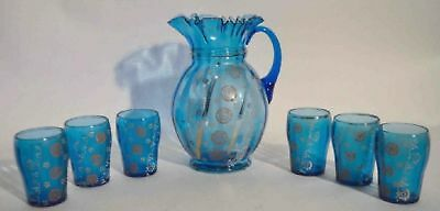 "RARE Stunning Victorian Teal Lemonade Set w/Pitcher 10"" & 6 Glasses 4"" Pre-WW I"