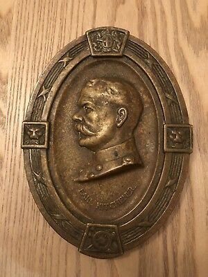 Vintage Heavy Cast Brass Lord Earl Kitchener Hanging Decorative Wall Plaque WWI