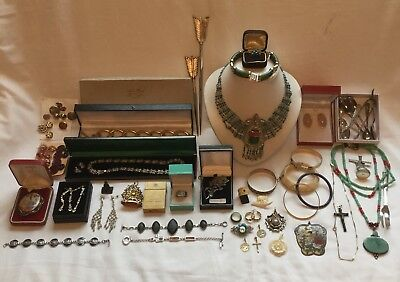 Massive Job Lot 50+ Antique Vintage Costume Jewellery & Other Items For Re-sell