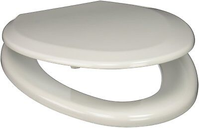 Comfort Seats Elongated Premium Wood Toilet Seat - White w/ Antique Brass Hinges