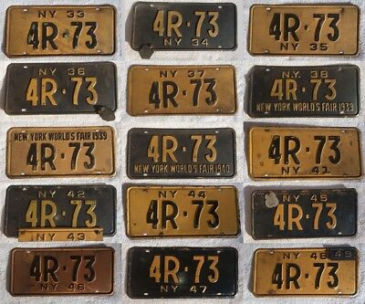 Lot of 15 License Plates Consecutive Years 1933-1949 Series Antique Vintage NY