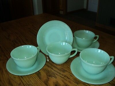 1950s~FIRE KING~OVEN WARE~JADEITE~JANE RAY~RIBBED~CUP/SAUCER~LOT~4 PCS.