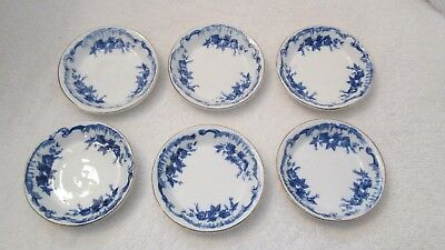 Set of 6 Matching Antique Flow Blue Butter Pat Dishes w Gold Trim~English