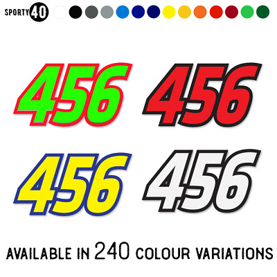 RACE NUMBER SET  3x Vinyl Graphic Stickers / Decals - Motocross Trials Enduro