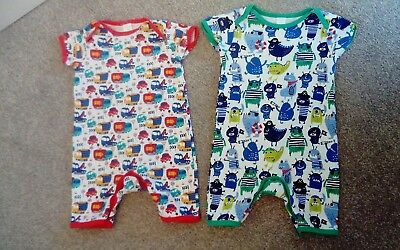 2 baby boys rompers 9-12 months Boots Mini Club red cars green pirates babygrows