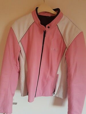 ladies pink leather motorcycle jacket size 12