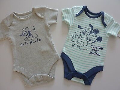 Disney MICKEY MOUSE & PLUTO 2 Cute Little Bodysuits NWT