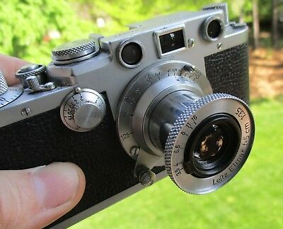 LEICA IIIf Rangefinder Camera w/ Elmar 5 cm f/3.5 Lens and Original Leather Case