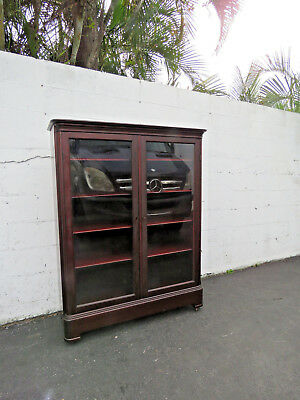 Early 1900s Bookcase Bookshelf Display Cabinet with Glass Front 8790