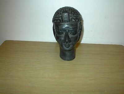"ANTIQUE Unique Egyptian Pharaoh Black MARBLE/BAZALIT BUST 6 3/4"" X 6"" 4 POUNDS"