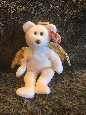 d9d3c3d8d29 Ty Beanie Baby Babies Halo II 2 the Angel Bear New with Tags 2000 brown nose