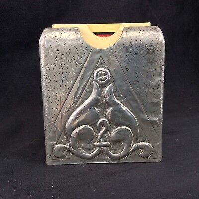 Antique Pewter Playing Card Case Art Nouveau Handmade Design Early 20th Century