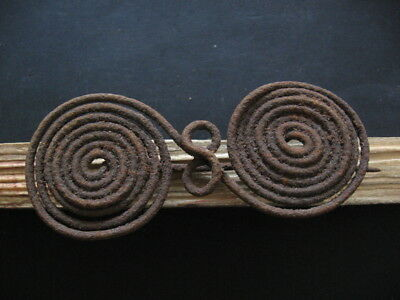 HALLSTATT CULTURE SPIRAL FIBULA ANCIENT CELTIC IRON BROOCH 800-600 B.C. 117 mm.