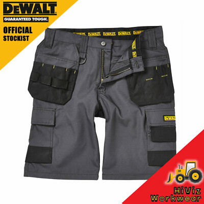 891dce5ce2 DeWalt Mens Work Shorts Grey Tuff Rip Stop Cargo Holster Pocket, Double  Stitched