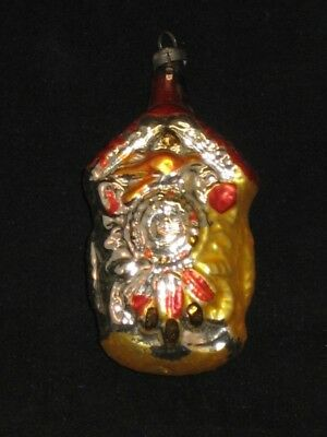 West German Coo Coo Clock Antique Glass Christmas Ornament Vintage 1950's