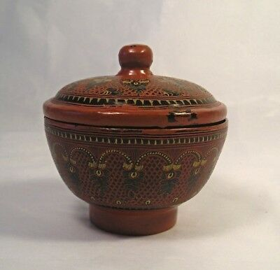 An Old Burmese Lacquerware Papermache Box T1