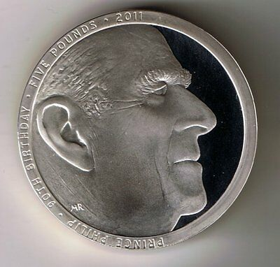 2011 PIEDFORT SILVER PROOF five pound £5 crown coin - 28.3g Prince Philip 90th