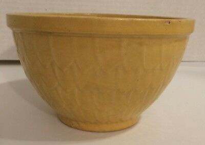 """Vintage Antique McCoy Pottery Canary Yellow 7"""" Fish Scale Scales Mixing Bowl"""