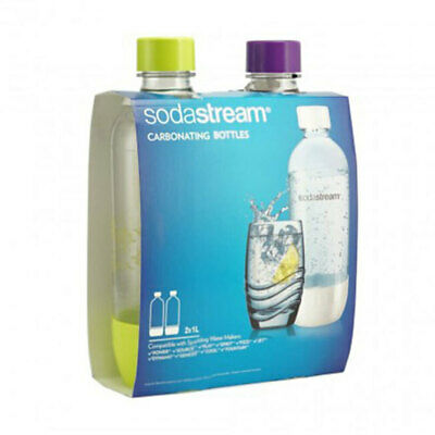 2x SodaStream SM Carbonating 1L Bottle for Drink Maker Source Metal/Play/Spirit