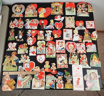Lot Of 54 Vintage Valentines Day Cards All Dogs Mechanical Stand-Up Die-Cut ++