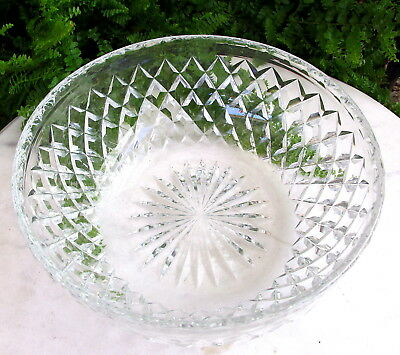 Beautiful Signed Webb Vintage Cut Crystal Glass Serving Bowl
