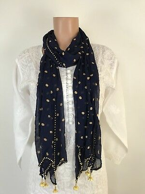 $7 IBC Stylish Indian Dupatta Fish Cut Scarf  Trendy Women scarf Navy Blue