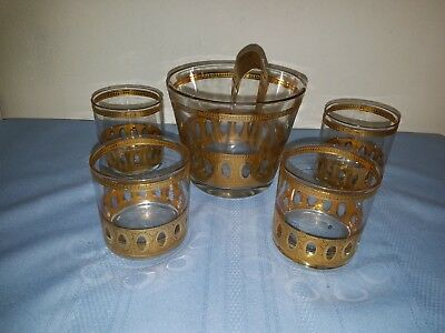 Vintage Culver Ice Bucket w/5 Low Ball Glasses ~ Gold Inlay