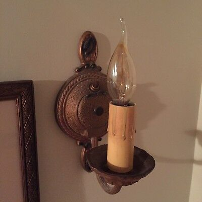 Antique Art Deco Electric Wall Sconce Light ~Regular Bulb + Candle Bulb Adapter