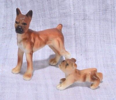 """Small BOXER DOG FIGURINES Adult & Puppy Boxers SIZE 1.5""""  DIORAMA DOG FIGURINES"""