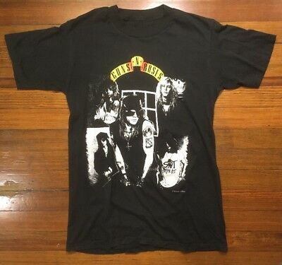 Vintage 80s T-Shirt Guns And Roses Appetite For Destruction 1988 Thin Clean MED