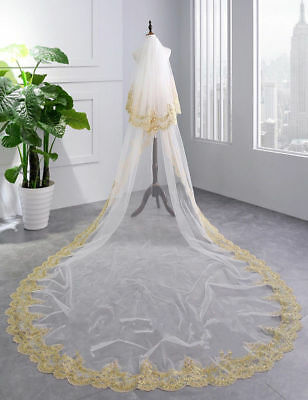 New Cathedral Wedding Veil Gold Lace Applique White/Ivory Bridal Veils Comb