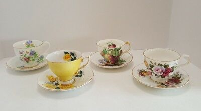 Vintage Floral Tea Cups and Saucers Bone China Made in England Lot of 4