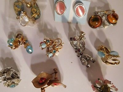 10 Piece Vintage smaller sized EARRINGS Colored Rhinestone/Glass Jewelry Lot
