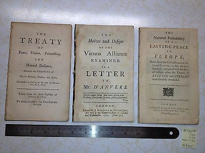 3 Scarce Antique 1729-32 European Renaissance ~  Early Modern Period Pamphlets