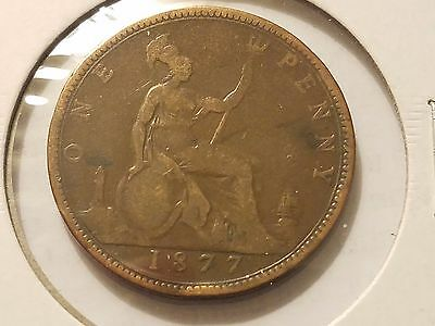 1877 Great Britain One Penny Small Date RARE