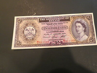 Gem Uncirculated 2 Dollars 1975 Banknote From Belize. Very High Value !!!