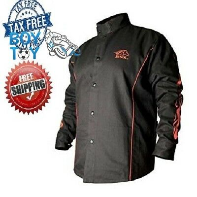 BSX Flame Resistant Welding Jacket Black with Red Flames Adjustable Size Large