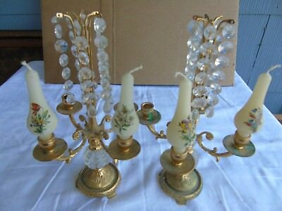 Antique Candle Holders, Brass,and Strings of Crystals, Pair, RAF, 7152