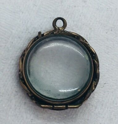 Antique Victorian Yellow Gold Filled Double Sided Clear Plexi Glass Locket