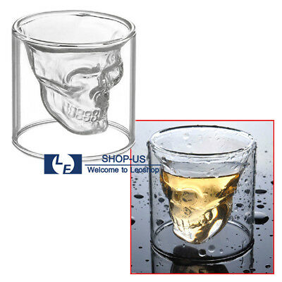New 4x Crystal Skull Head Glasses Vodka Whiskey Shot Drinking Designer Cup Party