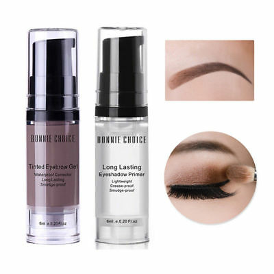 2 Bottles 6ml Waterproof Eyebrow Gel Eyeshadow Primer Cream Long-lasting Make Up