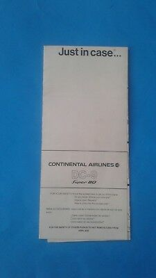 Rare - Continental Airlines  Safety Card - DC-9 Super 80  SS DC-9-80 1980 (C)