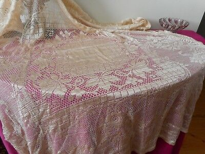 Lovely blonde silk lace table cloth